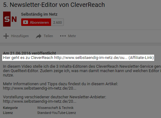 Mit Affiliate Marketing auf YouTube Geld verdienen