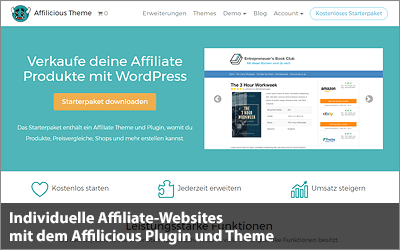 Individuelle Affiliate-Websites mit dem Affilicious Plugin und Theme