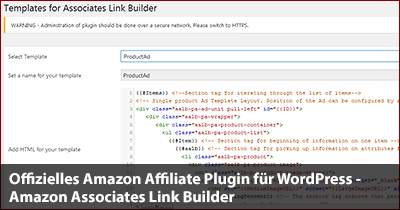 Offizielles Amazon Affiliate Plugin für WordPress - Amazon Associates Link Builder