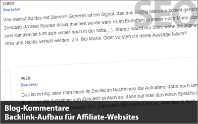 Blog-Kommentare - Backlink-Aufbau für Affiliate-Websites