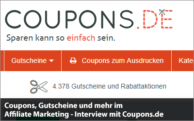 Coupons, Gutscheine und mehr im Affiliate Marketing - Interview mit Coupons.de